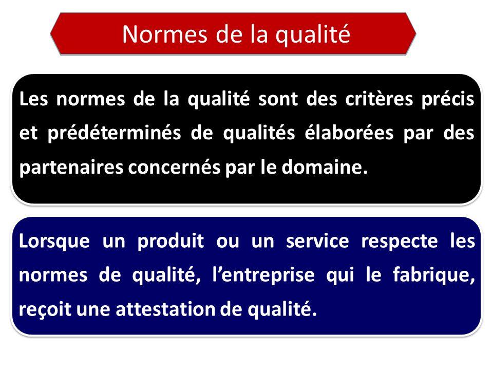 Les normes de la qualité sont des critères précis et prédéterminés de qualités élaborées par des partenaires concernés par le domaine.