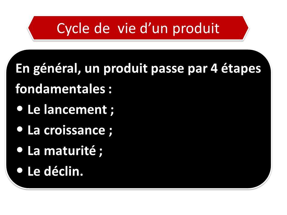 En général, un produit passe par 4 étapes fondamentales : Le lancement ; La croissance ; La maturité ; Le déclin.