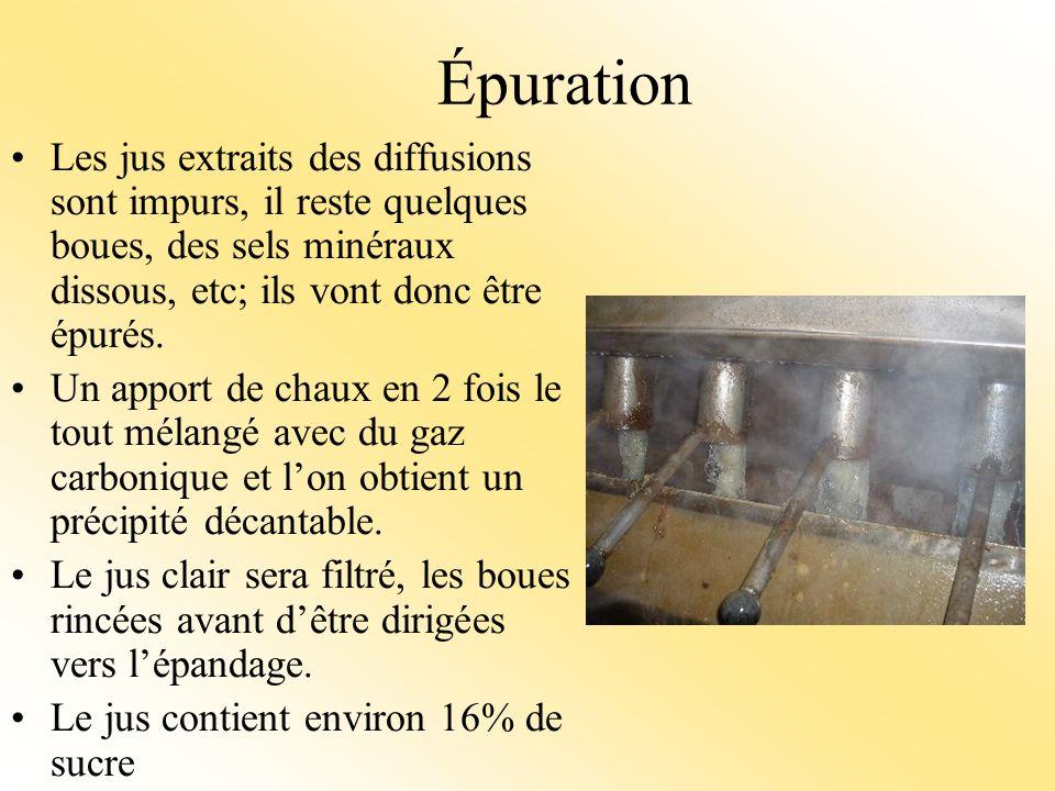 Épuration Les jus extraits des diffusions sont impurs, il reste quelques boues, des sels minéraux dissous, etc; ils vont donc être épurés.