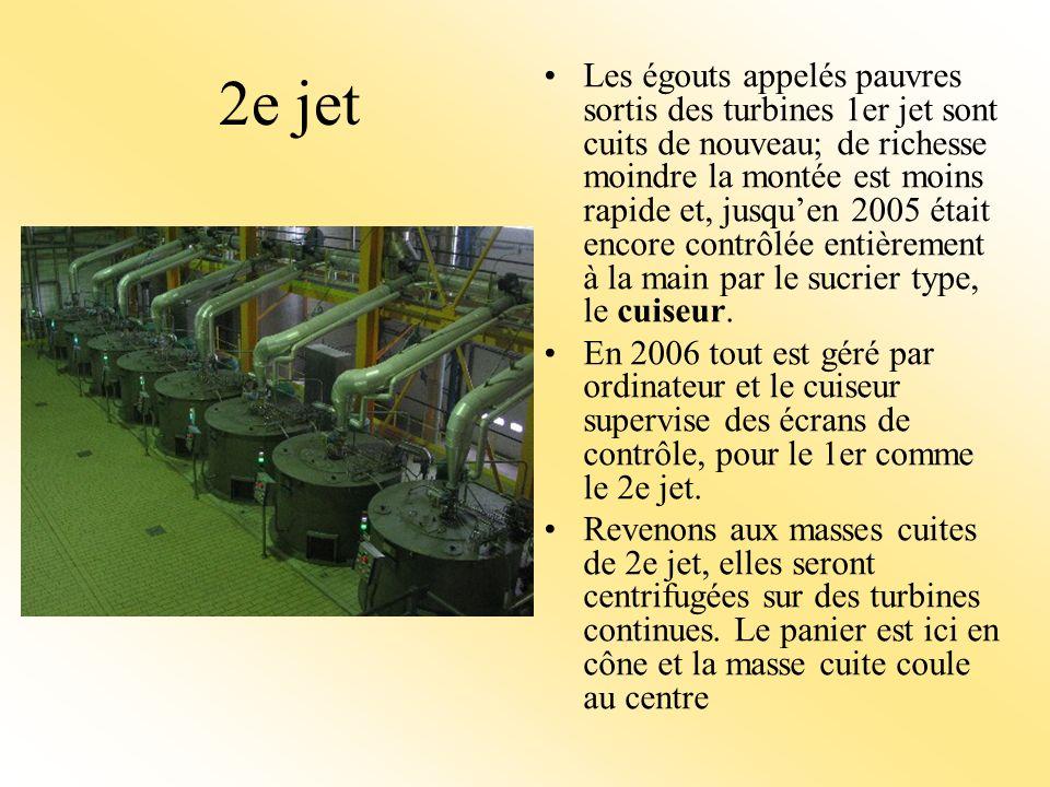 2e jet Les égouts appelés pauvres sortis des turbines 1er jet sont cuits de nouveau; de richesse moindre la montée est moins rapide et, jusquen 2005 était encore contrôlée entièrement à la main par le sucrier type, le cuiseur.