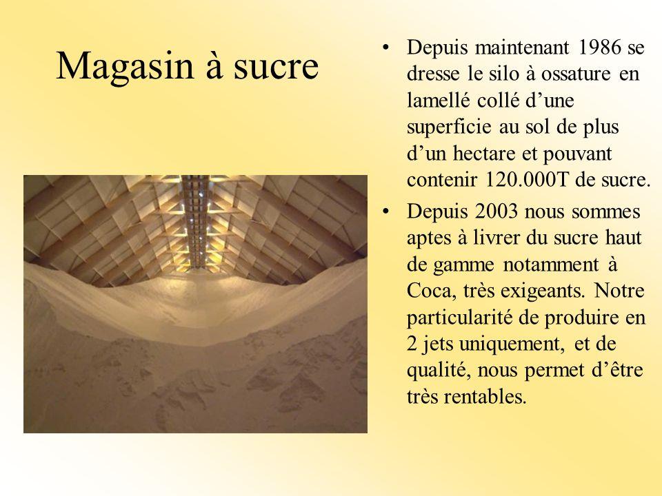 Magasin à sucre Depuis maintenant 1986 se dresse le silo à ossature en lamellé collé dune superficie au sol de plus dun hectare et pouvant contenir 120.000T de sucre.