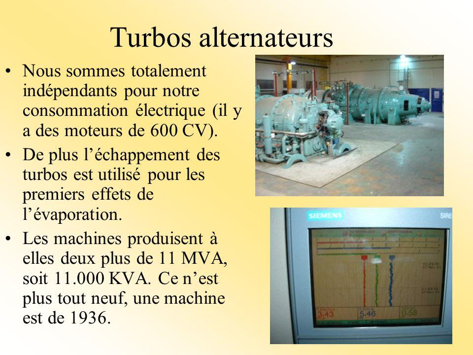 Turbos alternateurs Nous sommes totalement indépendants pour notre consommation électrique (il y a des moteurs de 600 CV).