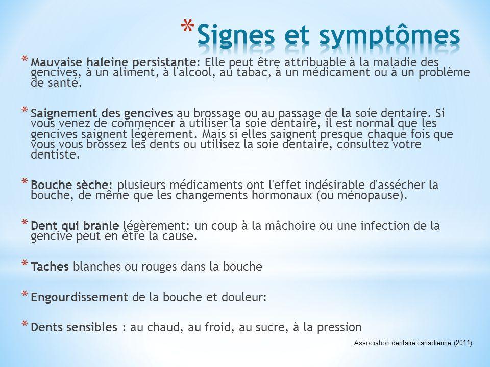* Mauvaise haleine persistante: Elle peut être attribuable à la maladie des gencives, à un aliment, à l'alcool, au tabac, à un médicament ou à un prob
