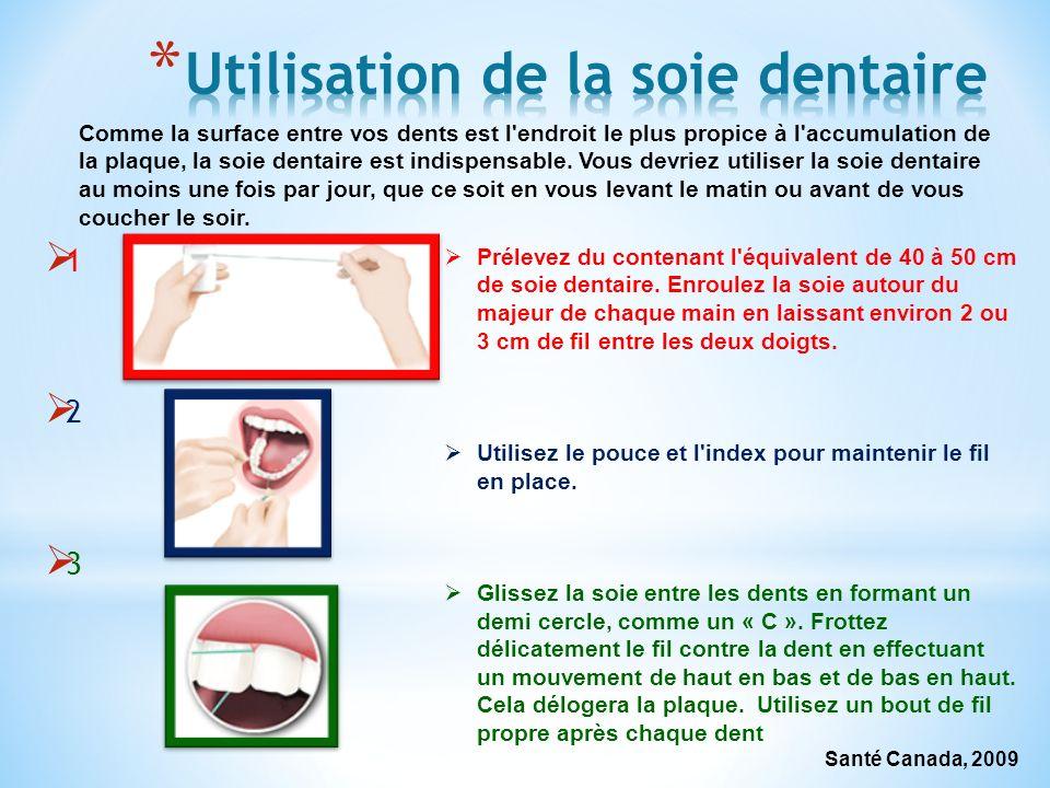 1 2 3 Comme la surface entre vos dents est l'endroit le plus propice à l'accumulation de la plaque, la soie dentaire est indispensable. Vous devriez u