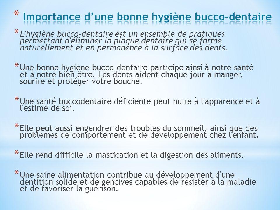 * Lhygiène bucco-dentaire est un ensemble de pratiques permettant d'éliminer la plaque dentaire qui se forme naturellement et en permanence à la surfa