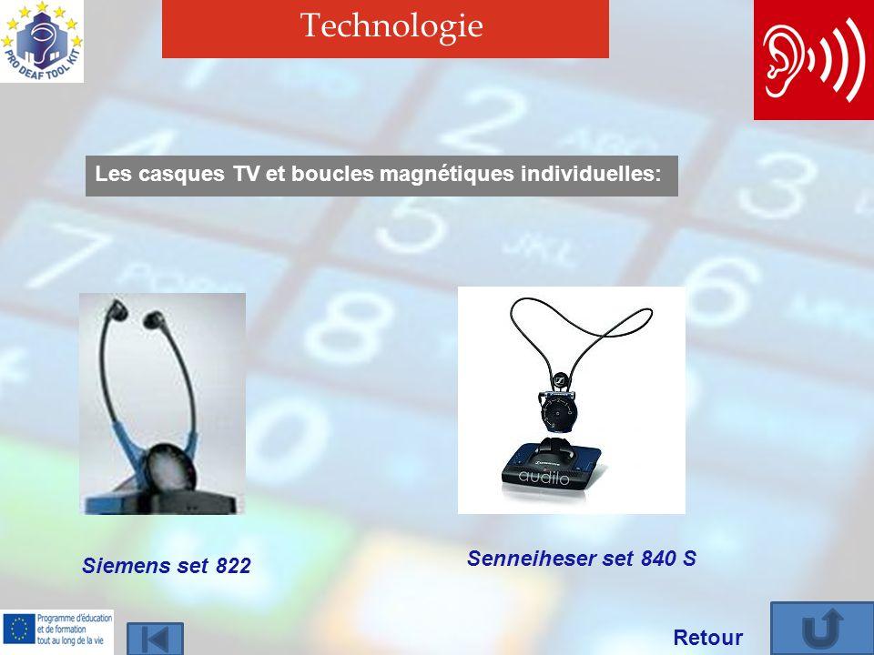 Technologie Siemens set 822 Senneiheser set 840 S Les casques TV et boucles magnétiques individuelles: Retour