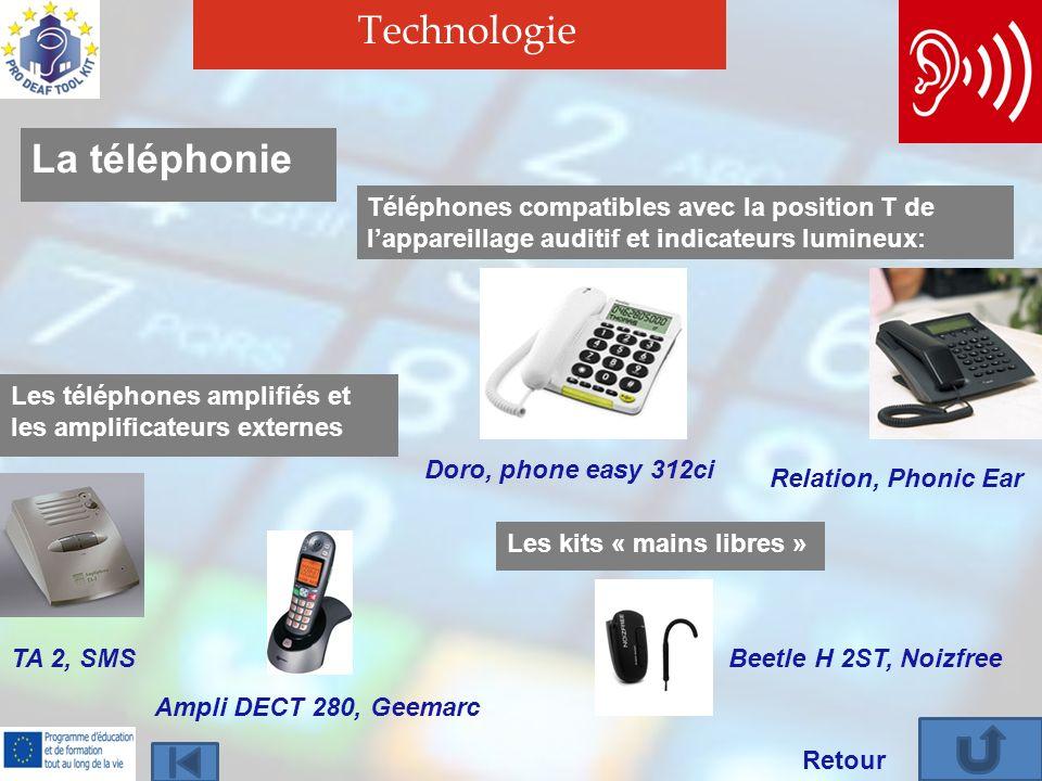 Technologie Retour La téléphonie Téléphones compatibles avec la position T de lappareillage auditif et indicateurs lumineux: Doro, phone easy 312ci Re