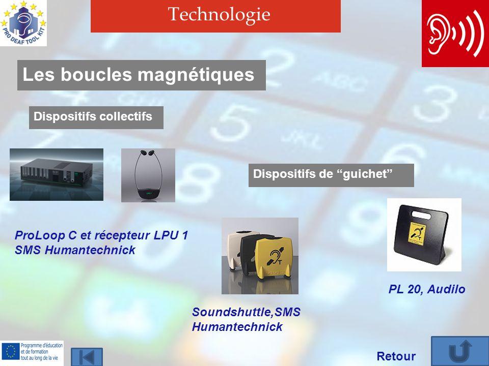 Technologie Retour Les boucles magnétiques Dispositifs collectifs ProLoop C et récepteur LPU 1 SMS Humantechnick Dispositifs de guichet PL 20, Audilo Soundshuttle,SMS Humantechnick