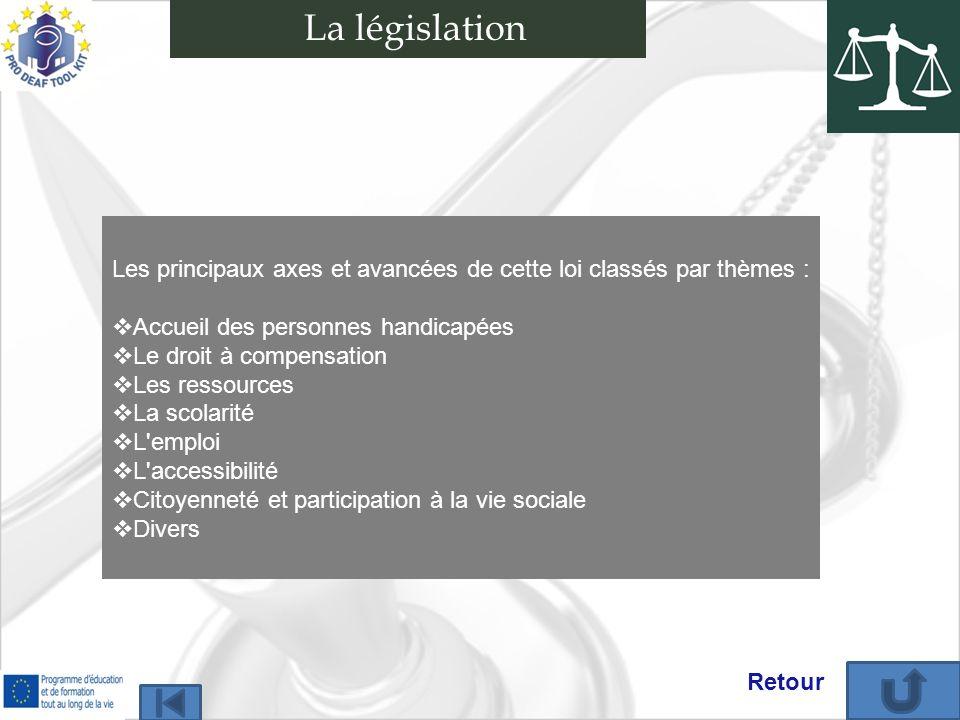 Les principaux axes et avancées de cette loi classés par thèmes : Accueil des personnes handicapées Le droit à compensation Les ressources La scolarit