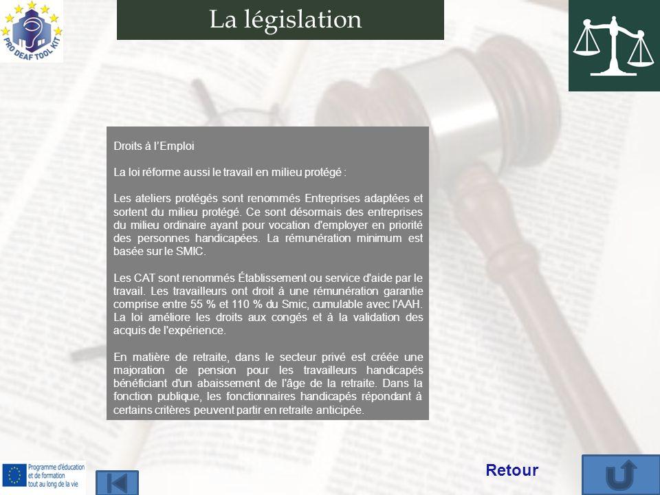 Droits à lEmploi La loi réforme aussi le travail en milieu protégé : Les ateliers protégés sont renommés Entreprises adaptées et sortent du milieu protégé.