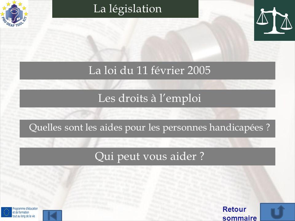 Qui peut vous aider ? La loi du 11 février 2005 Les droits à lemploi Quelles sont les aides pour les personnes handicapées ? Retour sommaire