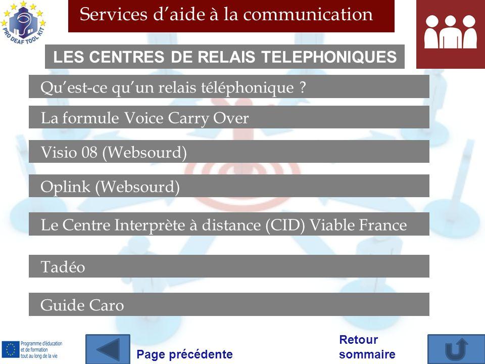 Services daide à la communication Retour sommaire Quest-ce quun relais téléphonique ? La formule Voice Carry Over Visio 08 (Websourd) Oplink (Websourd