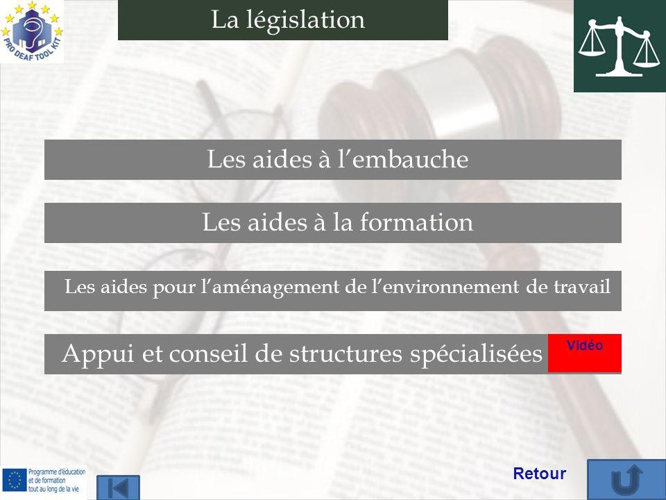 La législation Appui et conseil de structures spécialisées Les aides à lembauche Les aides à la formation Les aides pour laménagement de lenvironnemen