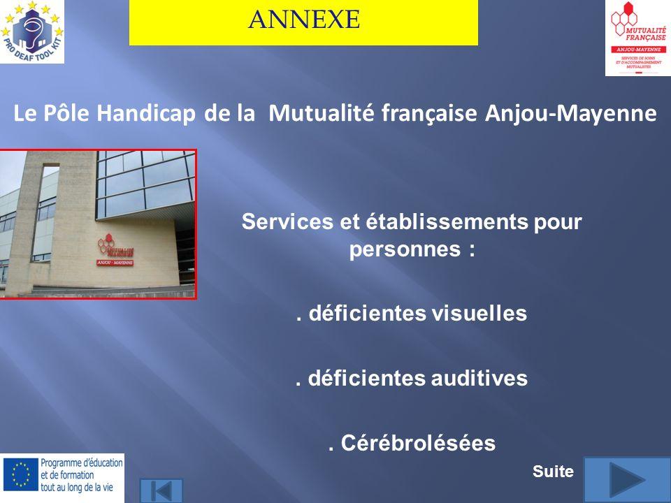 Le Pôle Handicap de la Mutualité française Anjou-Mayenne ANNEXE Services et établissements pour personnes :. déficientes visuelles. déficientes auditi