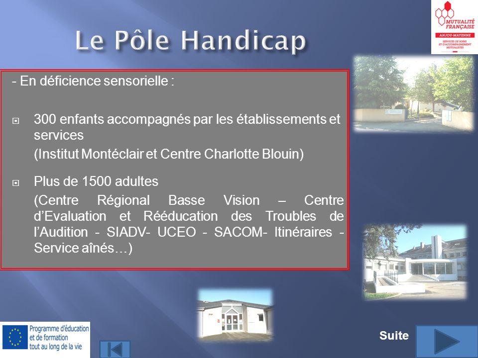 - En déficience sensorielle : 300 enfants accompagnés par les établissements et services (Institut Montéclair et Centre Charlotte Blouin) Plus de 1500