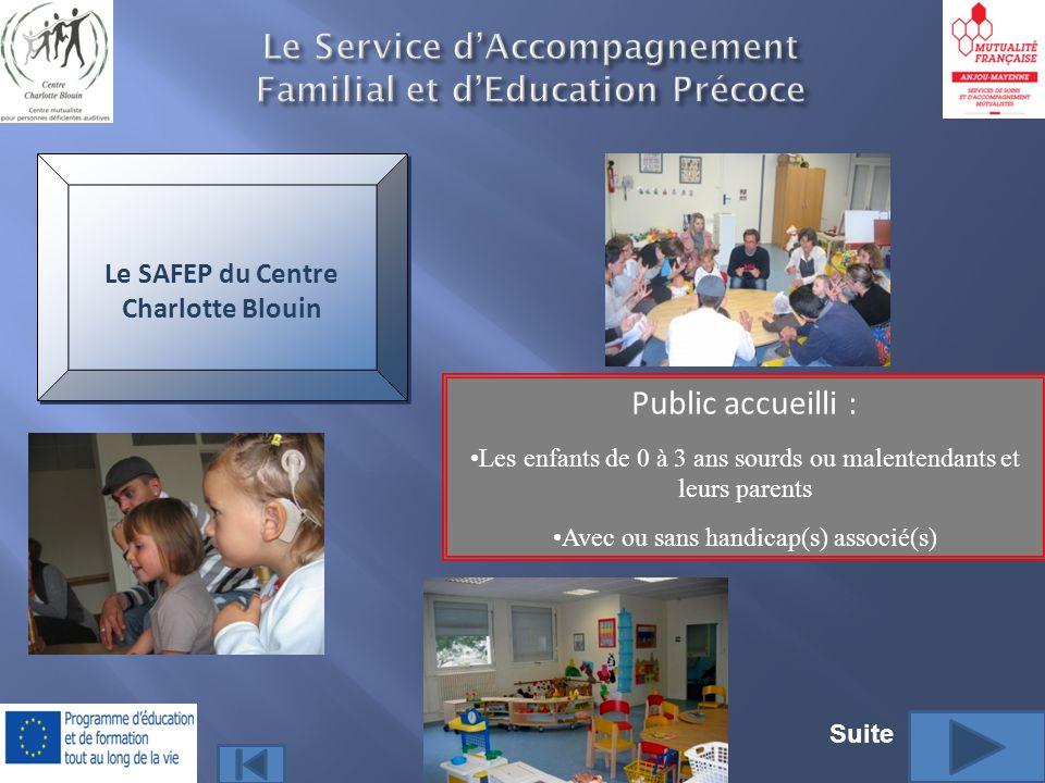 Le Service dAccompagnement Familial et dEducation Précoce Public accueilli : Les enfants de 0 à 3 ans sourds ou malentendants et leurs parents Avec ou