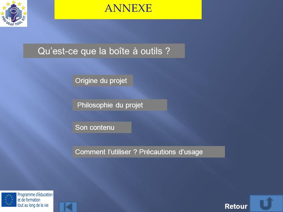 ANNEXE Quest-ce que la boîte à outils ? Philosophie du projet Son contenu Comment lutiliser ? Précautions dusage Origine du projet Retour