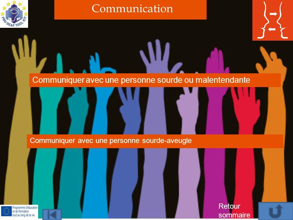 Communication Communiquer avec une personne sourde ou malentendante Communiquer avec une personne sourde-aveugle Retour sommaire