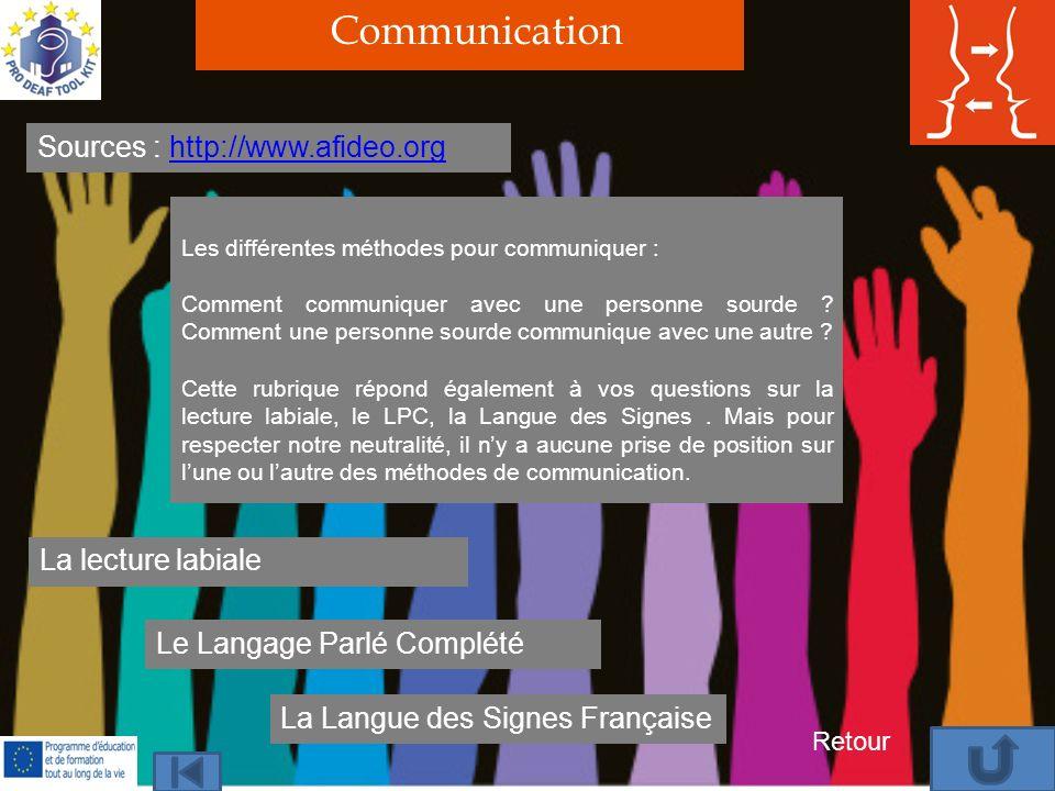 Communication Sources : http://www.afideo.orghttp://www.afideo.org Les différentes méthodes pour communiquer : Comment communiquer avec une personne sourde .