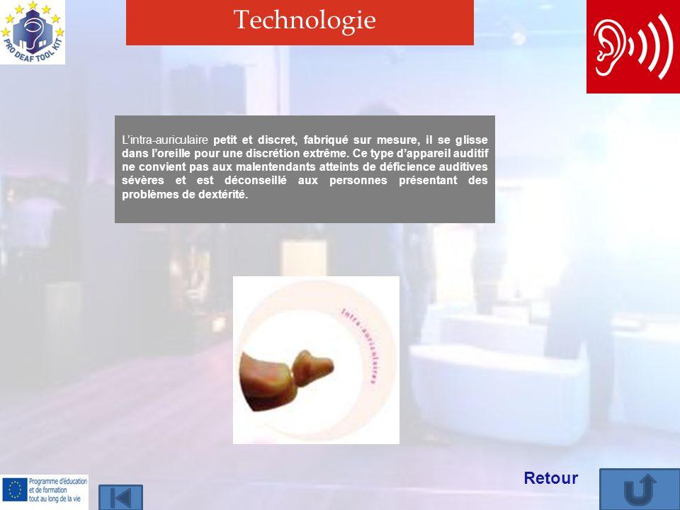 Technologie Retour Lintra-auriculaire petit et discret, fabriqué sur mesure, il se glisse dans loreille pour une discrétion extrême.