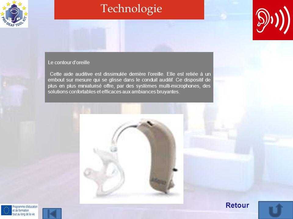 Technologie Retour Le contour doreille Cette aide auditive est dissimulée derrière loreille. Elle est reliée à un embout sur mesure qui se glisse dans