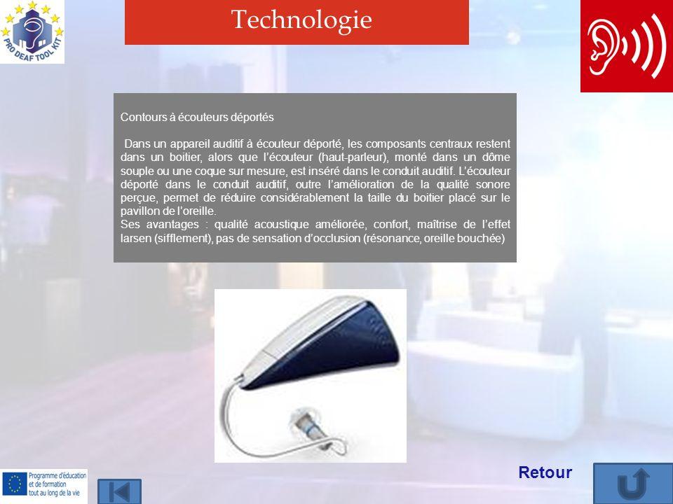 Technologie Retour Contours à écouteurs déportés Dans un appareil auditif à écouteur déporté, les composants centraux restent dans un boitier, alors que lécouteur (haut-parleur), monté dans un dôme souple ou une coque sur mesure, est inséré dans le conduit auditif.