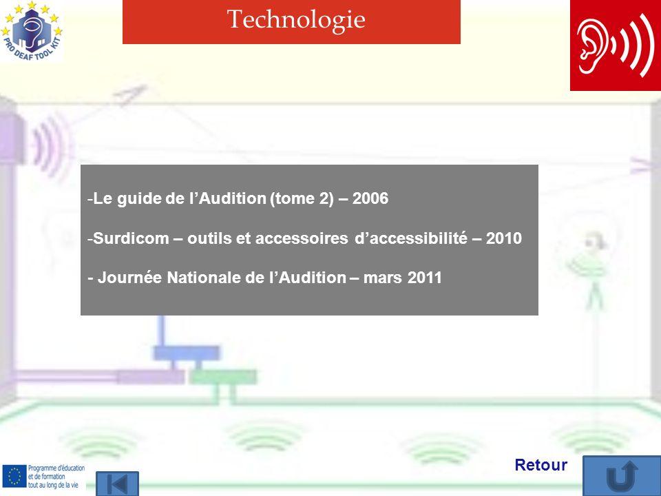Technologie -Le guide de lAudition (tome 2) – 2006Le guide de lAudition (tome 2) – 2006 -Surdicom – outils et accessoires daccessibilité – 2010Surdicom – outils et accessoires daccessibilité – 2010 - Journée Nationale de lAudition – mars 2011 Retour