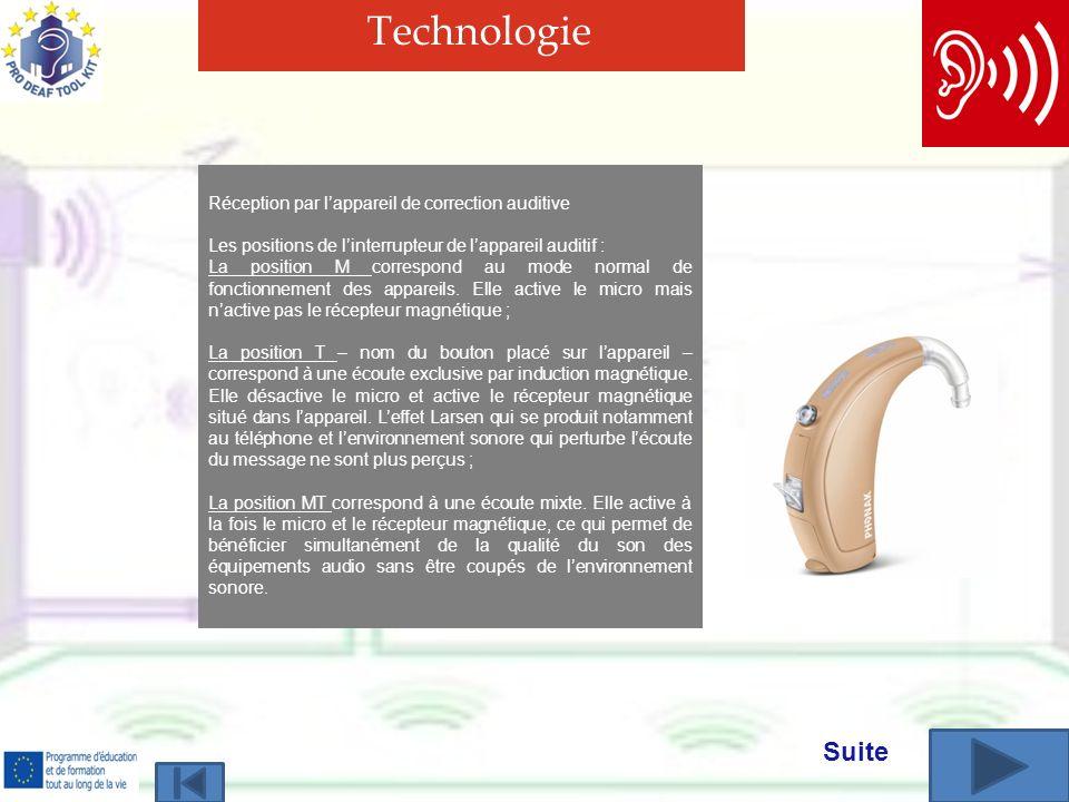 Technologie Réception par lappareil de correction auditive Les positions de linterrupteur de lappareil auditif : La position M correspond au mode normal de fonctionnement des appareils.