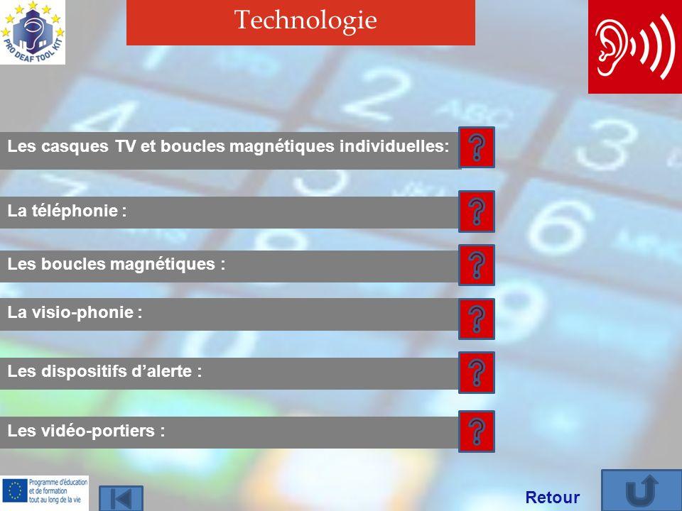 Technologie Les casques TV et boucles magnétiques individuelles: Les boucles magnétiques : La téléphonie : La visio-phonie : Les dispositifs dalerte : Les vidéo-portiers : Retour