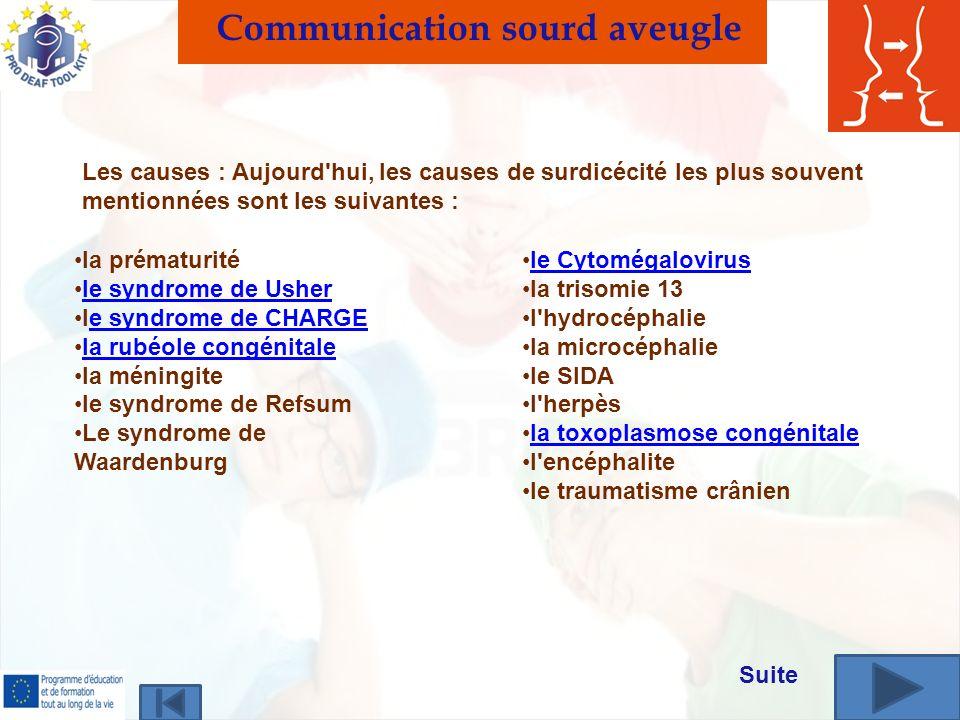 la prématurité le syndrome de Usher le syndrome de CHARGEe syndrome de CHARGE la rubéole congénitale la méningite le syndrome de Refsum Le syndrome de