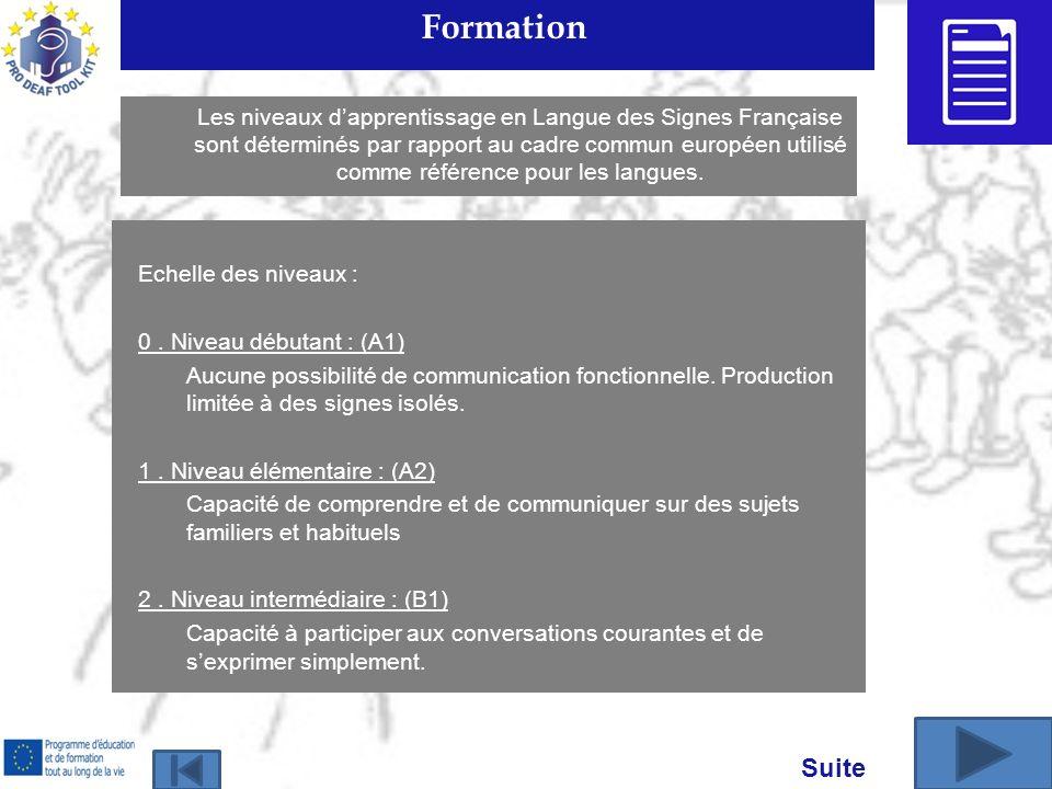 Formation Echelle des niveaux : 0. Niveau débutant : (A1) Aucune possibilité de communication fonctionnelle. Production limitée à des signes isolés. 1