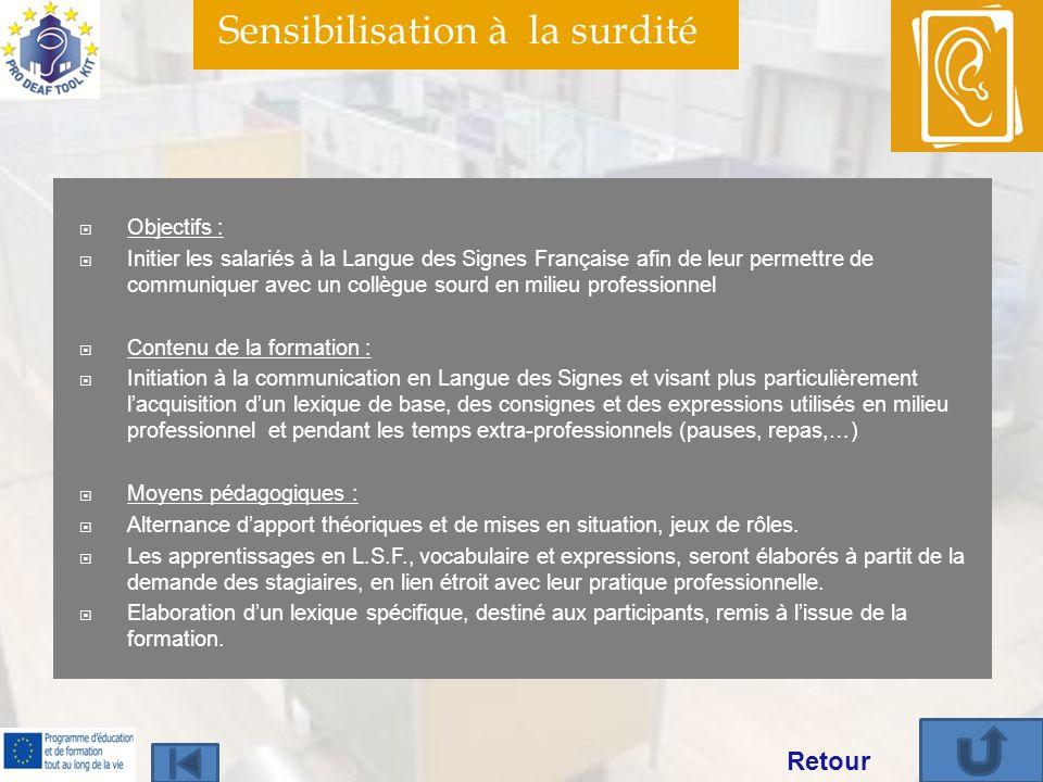 Sensibilisation à la surdité Objectifs : Initier les salariés à la Langue des Signes Française afin de leur permettre de communiquer avec un collègue