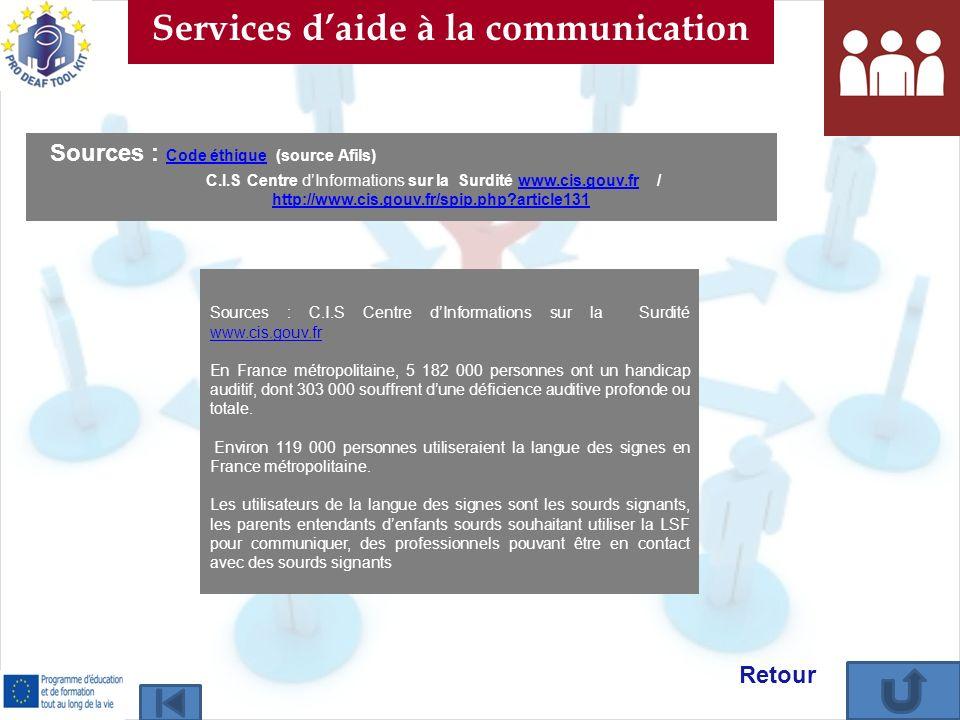 Retour Services daide à la communication Sources : C.I.S Centre dInformations sur la Surdité www.cis.gouv.fr www.cis.gouv.fr En France métropolitaine,