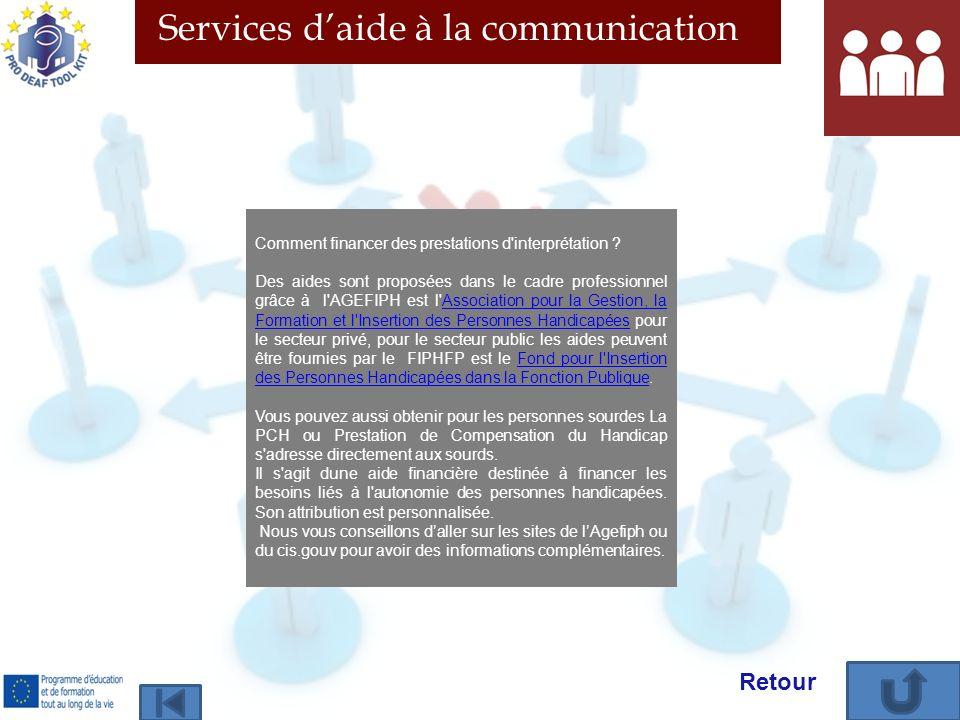 Services daide à la communication Comment financer des prestations d'interprétation ? Des aides sont proposées dans le cadre professionnel grâce à l'A