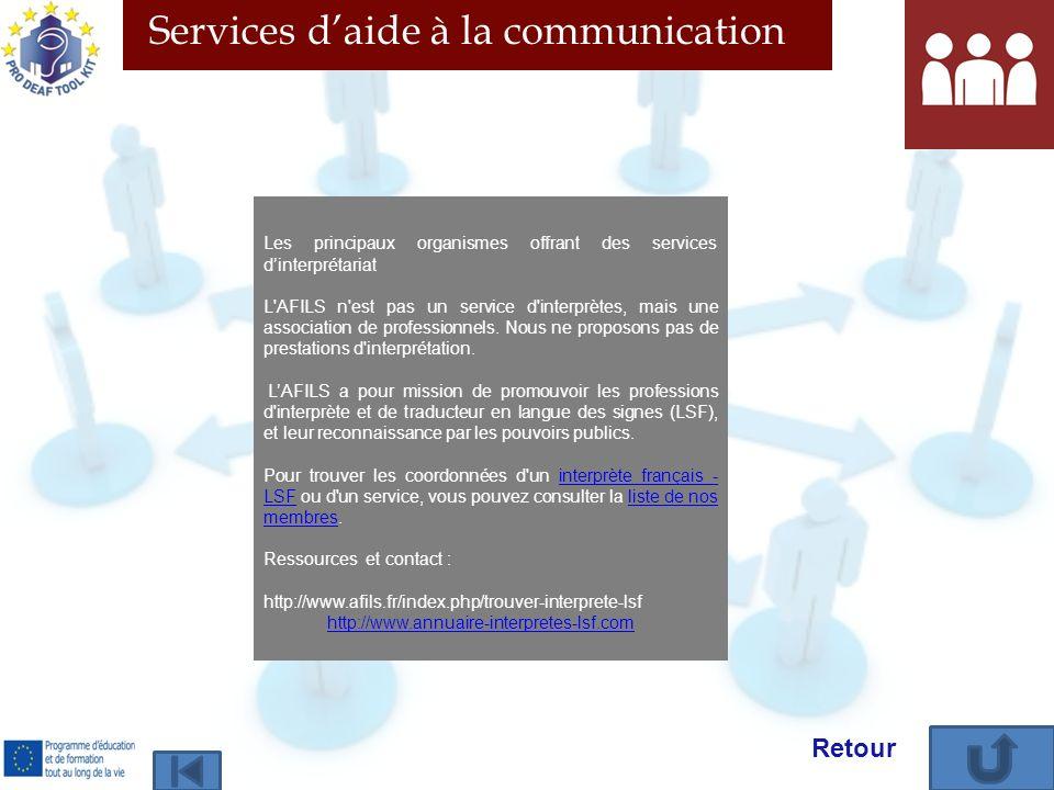 Services daide à la communication Les principaux organismes offrant des services dinterprétariat L AFILS n est pas un service d interprètes, mais une association de professionnels.