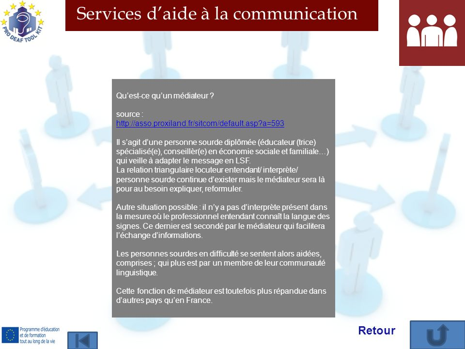 Services daide à la communication Quest-ce quun médiateur ? source : http://asso.proxiland.fr/sitcom/default.asp?a=593 Il sagit dune personne sourde d