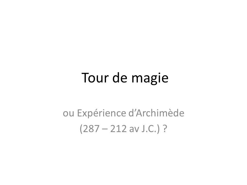 Tour de magie ou Expérience dArchimède (287 – 212 av J.C.) ?