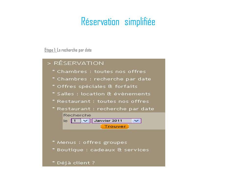 Réservation simplifiée Etape 1: La recherche par date