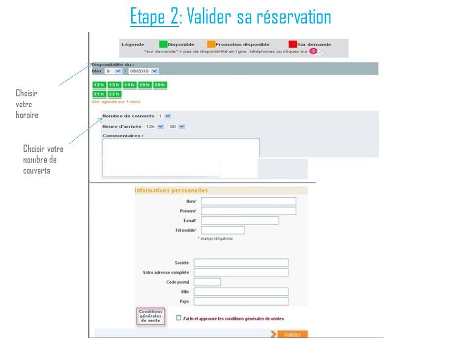 Etape 2: Valider sa réservation Choisir votre horaire Choisir votre nombre de couverts