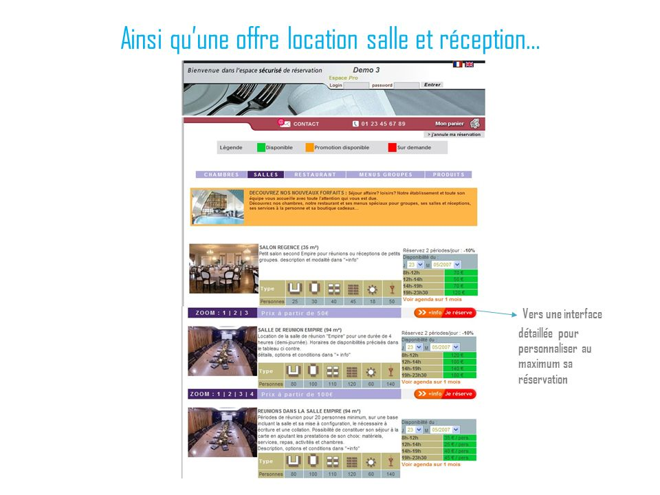 Ainsi quune offre location salle et réception… Vers une interface détaillée pour personnaliser au maximum sa réservation