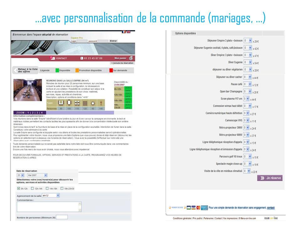 …avec personnalisation de la commande (mariages, …)