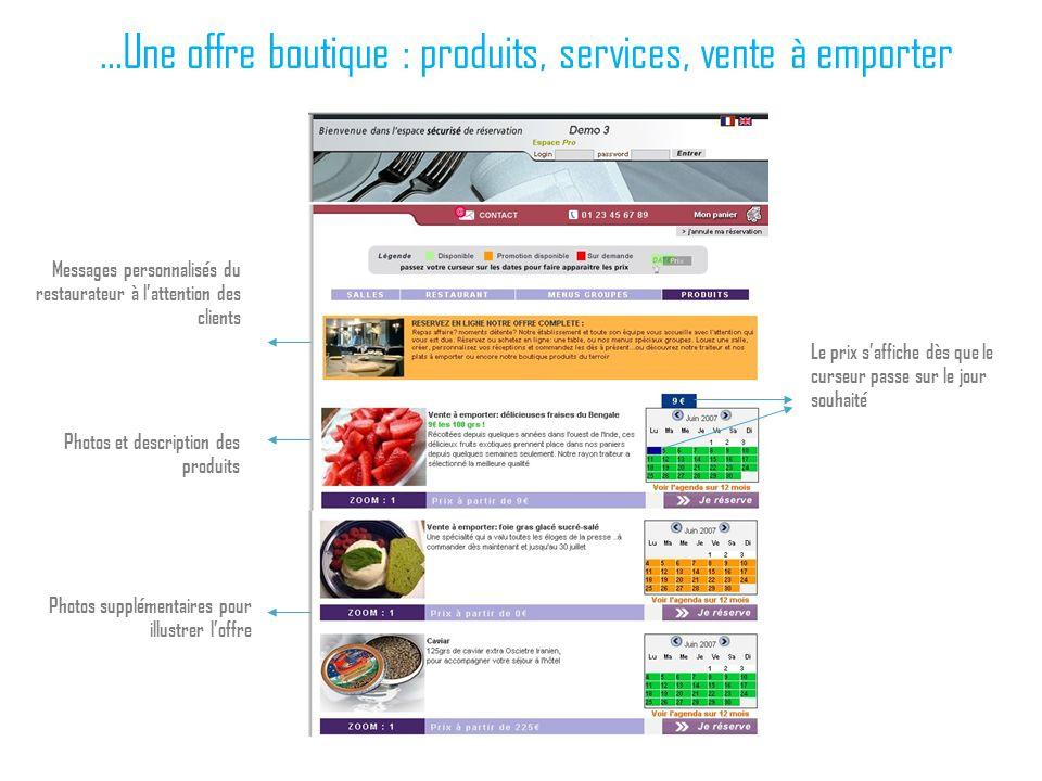 …Une offre boutique : produits, services, vente à emporter Photos et description des produits Messages personnalisés du restaurateur à lattention des