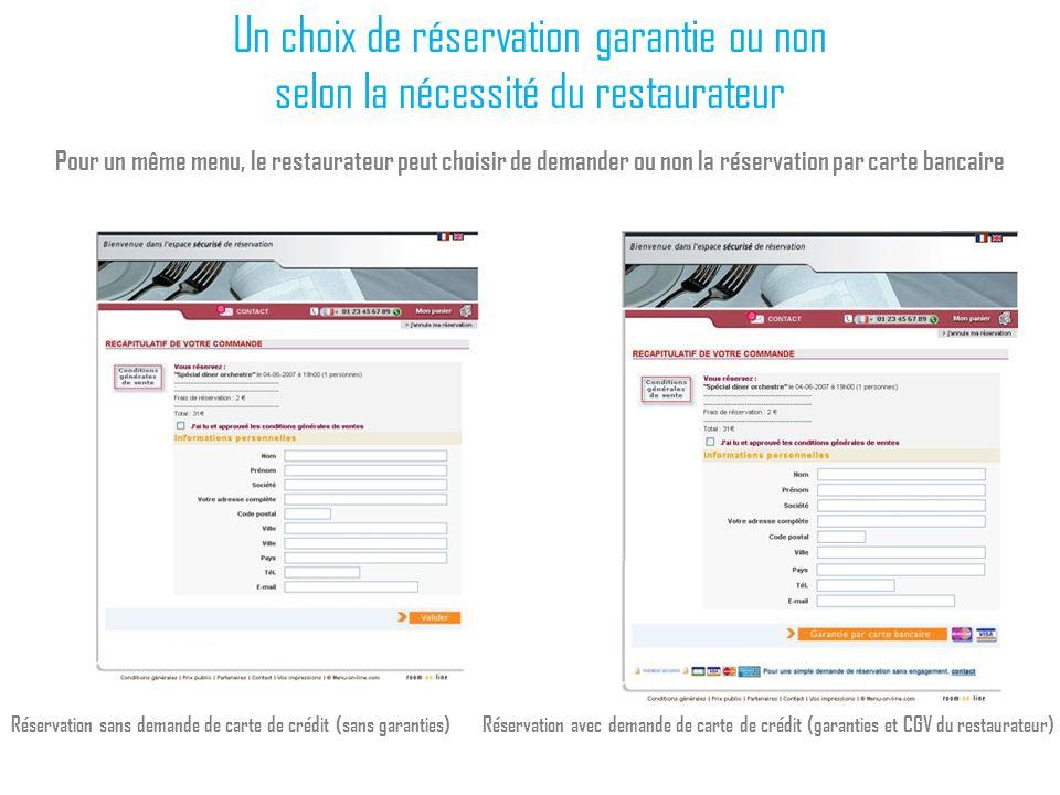Un choix de réservation garantie ou non selon la nécessité du restaurateur Pour un même menu, le restaurateur peut choisir de demander ou non la réser