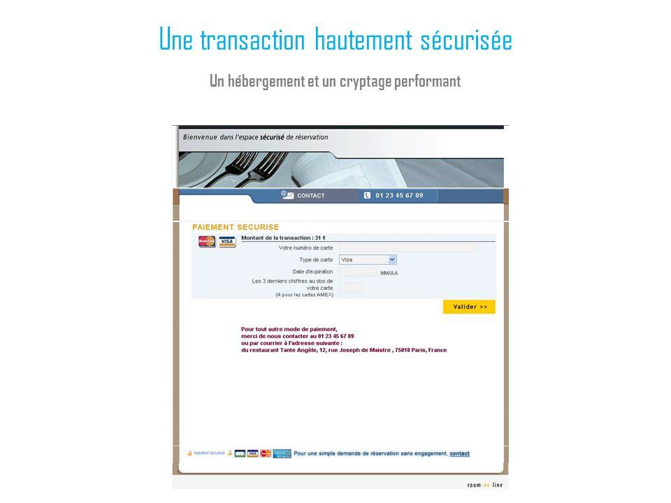 Une transaction hautement sécurisée Un hébergement et un cryptage performant