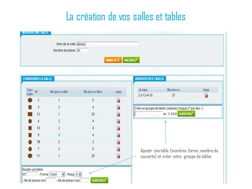 La création de vos salles et tables Ajouter une table (numéros,forme,nombre de couverts) et créer votre groupe de tables