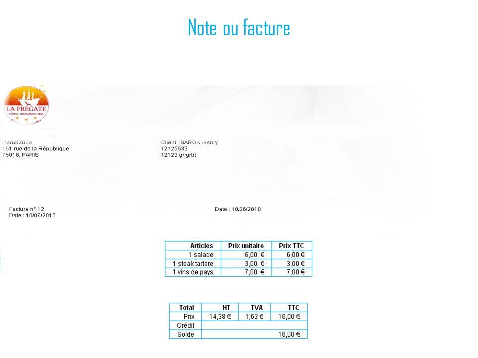 Note ou facture
