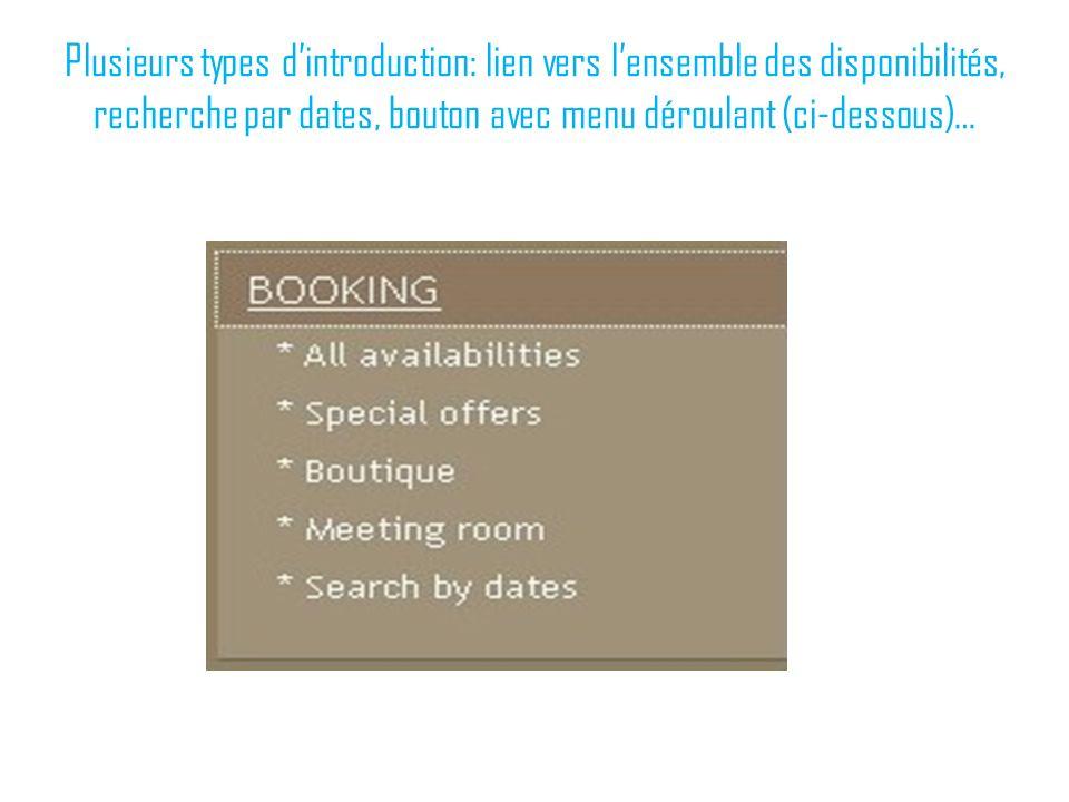 Plusieurs types dintroduction: lien vers lensemble des disponibilités, recherche par dates, bouton avec menu déroulant (ci-dessous)…