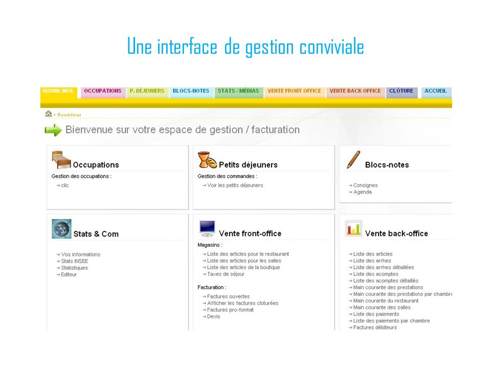 Une interface de gestion conviviale
