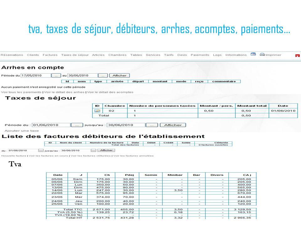 tva, taxes de séjour, débiteurs, arrhes, acomptes, paiements… Tva