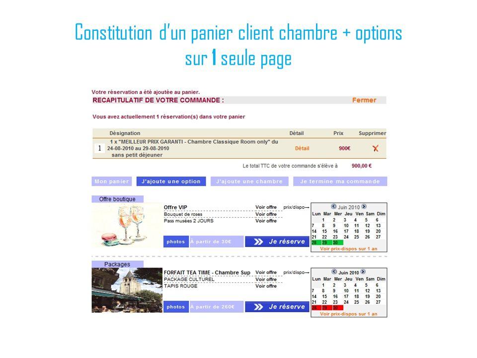 Constitution dun panier client chambre + options sur 1 seule page